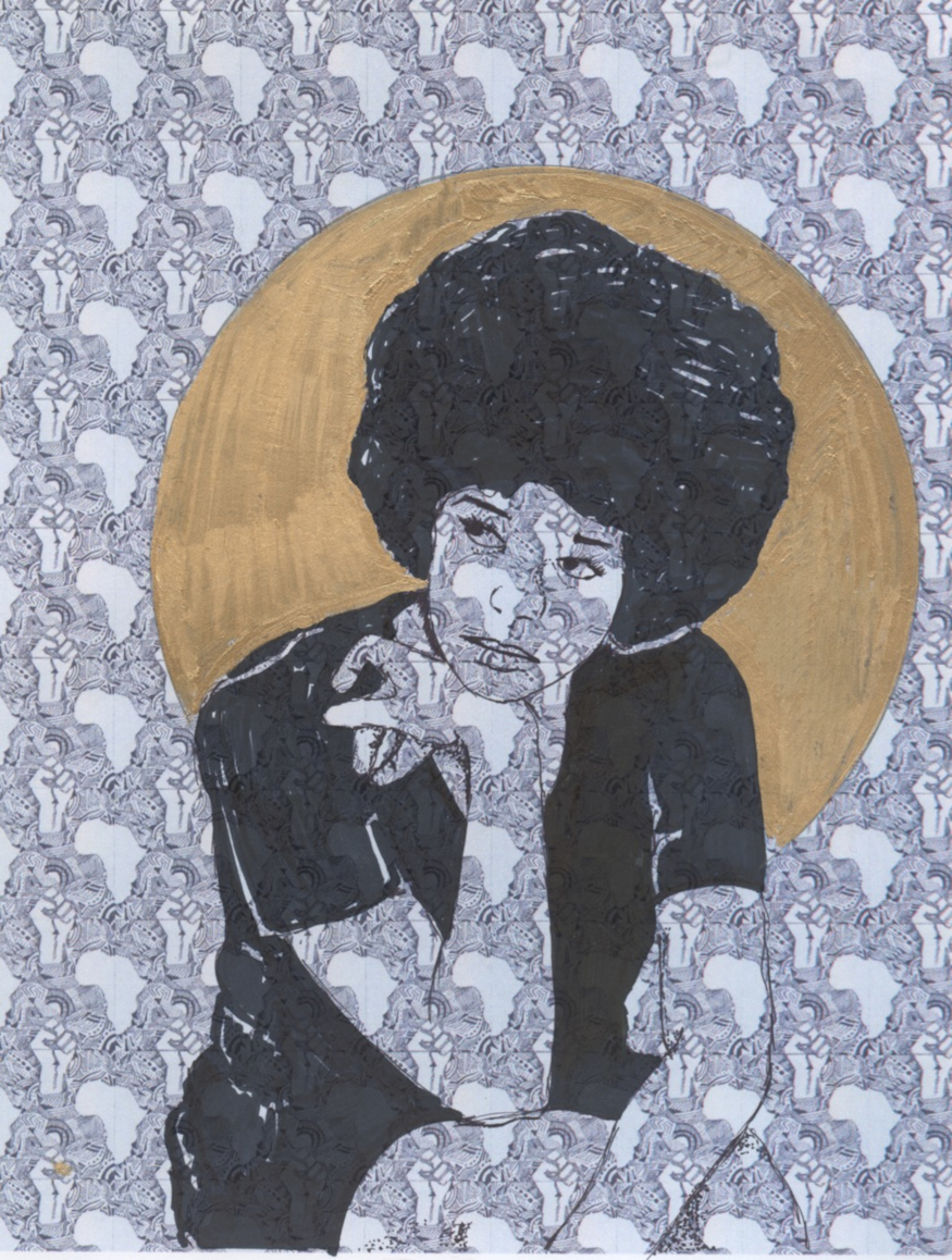 Kiayani Douglas painting of a young black women in thought