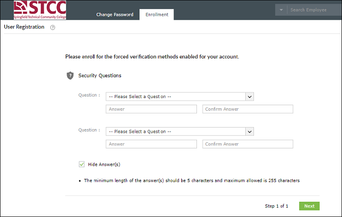 screenshot of security questions