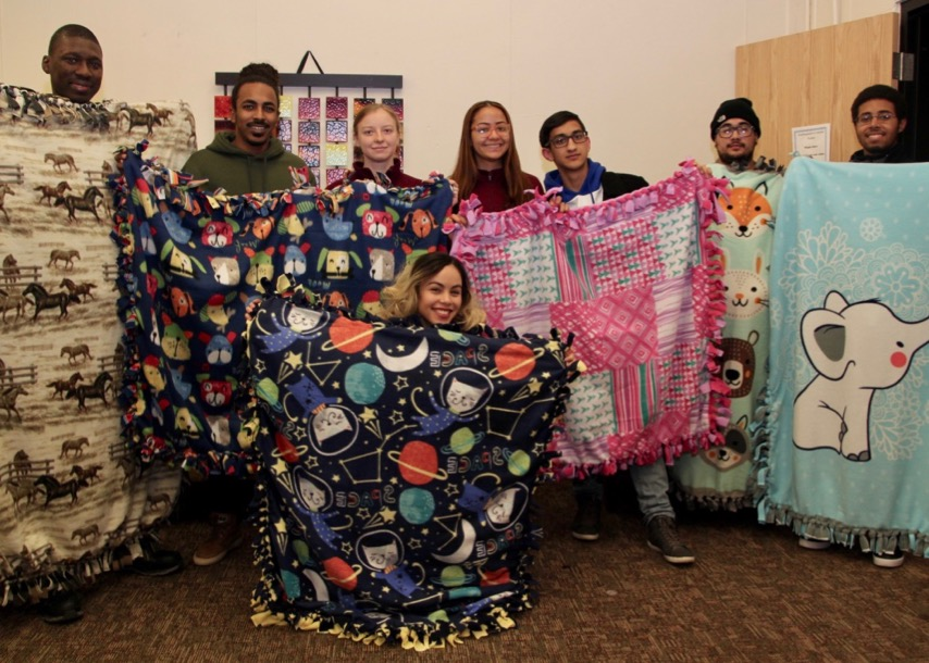 Student Ambassadors with blankets for RMH