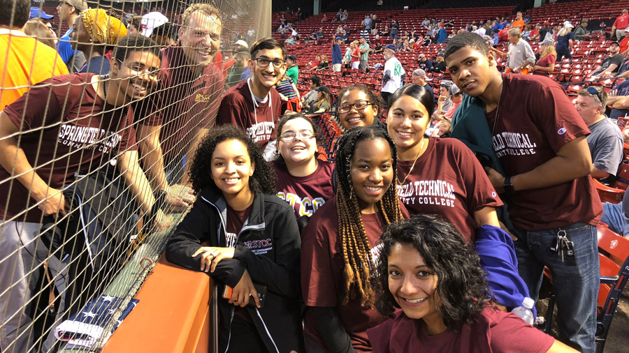Students at College Night at Fenway Park